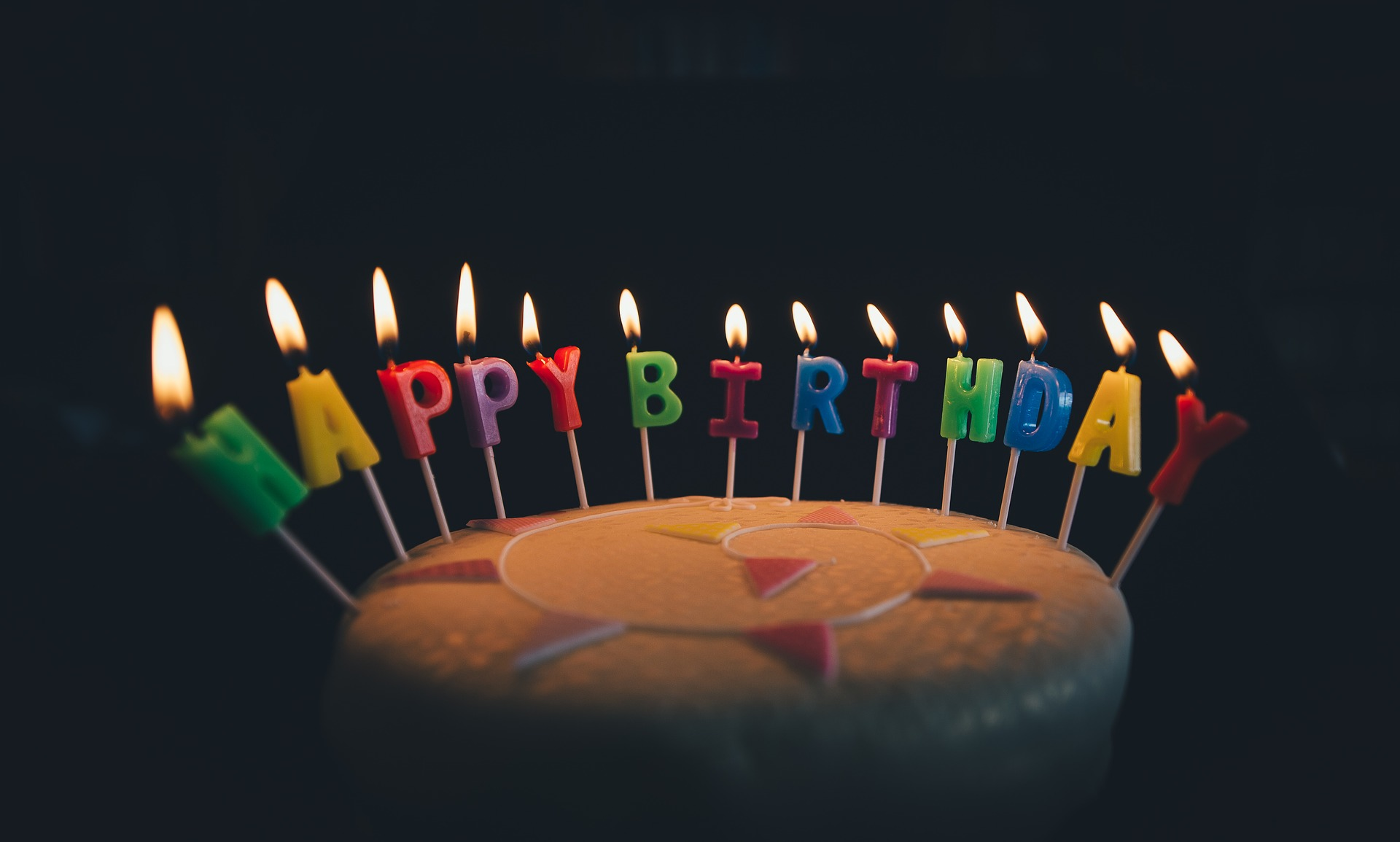 A birthday cake with happy birthday candles