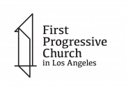First Progressive Church in Los Angeles Square Tower and Text Logo PNG Transparent Background